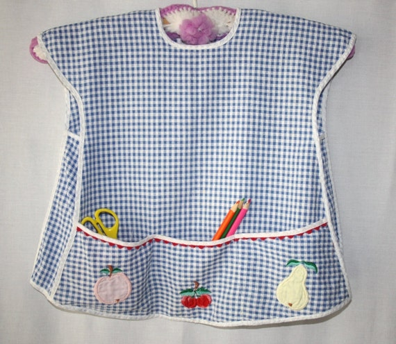 Childs Blue and White Gingham Art Smock / Apron with Pockets and Applique Fruit