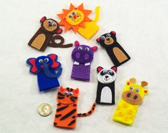 Set of 8 Jungle Animal Finger Puppets