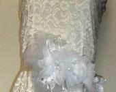 Bridal Sash - Angel - High Couture White Chiffon Flowers, Rhinestones, Swaovski Crystals satin bridal sash