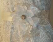 White Silver Bridal Sash White Satin Flower, Silver Cobweb Lace, Rhinestones, Vintage Stamens - Bridal wedding sash for bridal gown