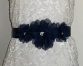 Wedding Navy Blue Bridal Sash (many colors to choose from)- Chiffon Flower Bridal Sash, Wedding Gown Sash, Belt, Satin Ribbon Sash