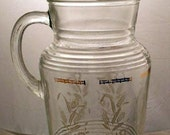 Hazel Atlas Glass Pitcher with Ice Lip & White Wheat Design Vintage 1950s