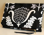 The Danna Clutch - Floral Damask Print Fold Over Clutch
