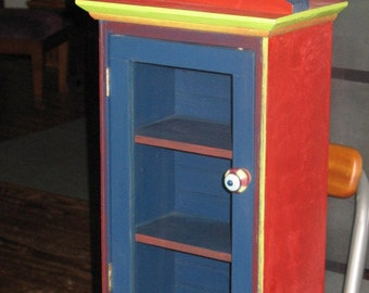 Cabinet Wood - Small  - Clock - Multi Color - Small wood cabinet