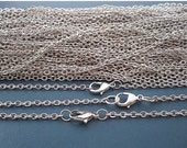 50 pcs 18 inch 3x2mm silver plated necklace chain with lobster clasp