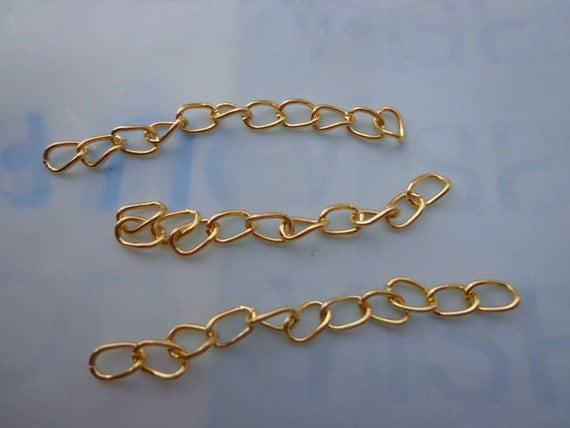 50pcs of 4.5-5cm Long x 3mm wide Exquisite gold   Tail Chain