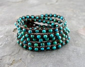 Macramed Genuine Turquoise Wrap Bracelet GIFTS UNDER 50
