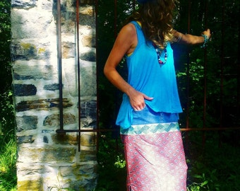 Upcycled, Womens, Hippie, Boho, Colorful Skirt, Wrap Skirt, Denim, Maxi Skirt, Long Skirt