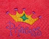 Washcloth Embroidered Princess Crown - Girly Bath Towel