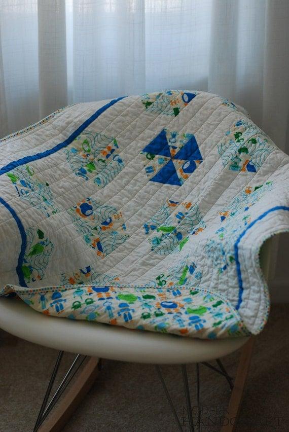 Reserved for Lauren C. - Modern Bots Baby Quilt