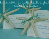 Set of 50 Beach Themed Folded Wedding Place Cards - Glitter Starfish w Folded Place Card