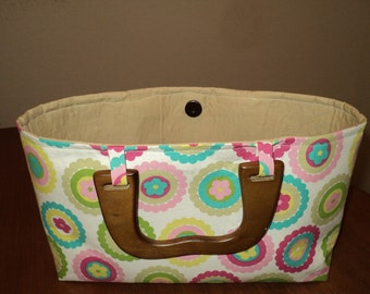 Multicolored Purse with Wooden Handles