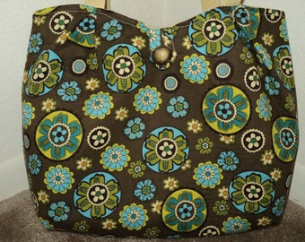 Brown, Tan, and Turquoise Floral Tote