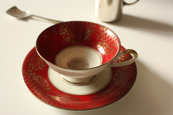 Alka Bavaria Tea Cup and Saucer Red and Gold