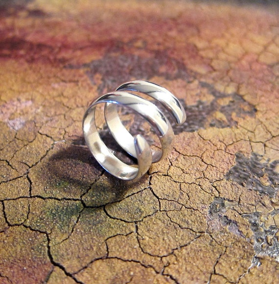Handmade sterling silver ring, wrapped ring, size 5.5, 6.5, adjustable, all silver, silver band