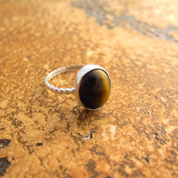 Sterling silver ring with Tiger Eye stone, patience stone, oval, brown ring, size 6