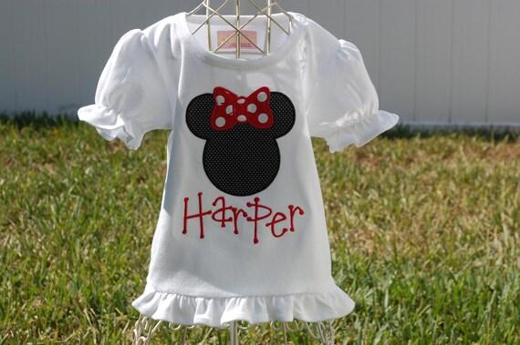 Personalized Minnie Mouse ruffle shirt