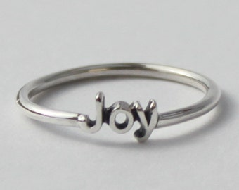 Joy word Ring - 925 Sterling silver with poetic/Inspirational words