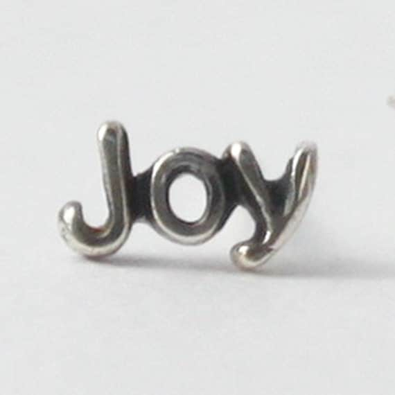 Single Earring - words and symbols -Love, Joy, Peace and Fearless - Lotus, Heart and Diamond
