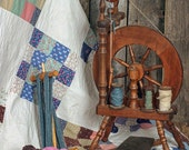 Spinning Wheel, Quilt, Yarn, Wool, Cards, Crafts, DIY, Photography, Fine Art, Print