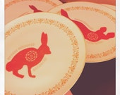 Rabbit & Fox Hand Painted Up-Cycled China Plate Set of 4