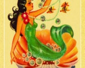 Mermaid Linen Paper Postcard