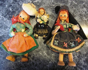 Lot of 3 1960s Maria Helena Mascot Dolls Made in Portugal with Original Tags
