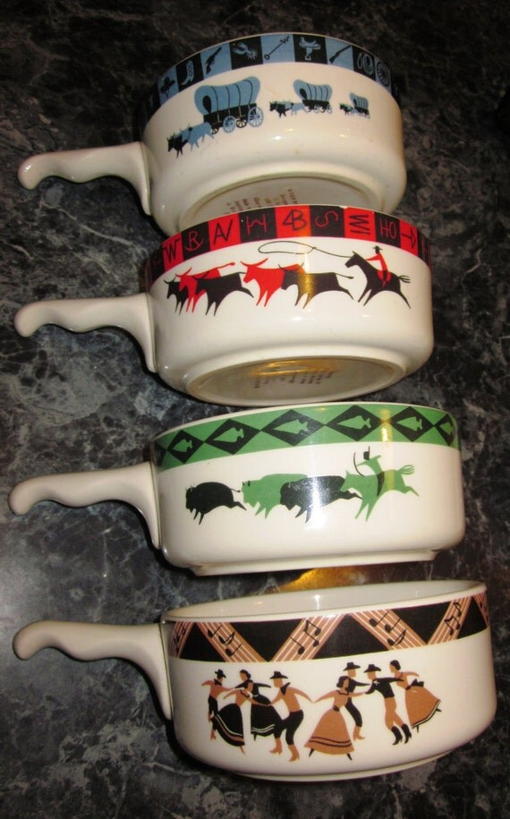 Set of 4 Old West Theme 10 Ounce Chili, Soup or Cereal Bowls with Handles by Lee Bates.
