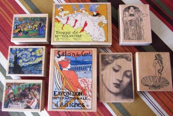 Set 8 New Art Nouveau Rubber Stamps