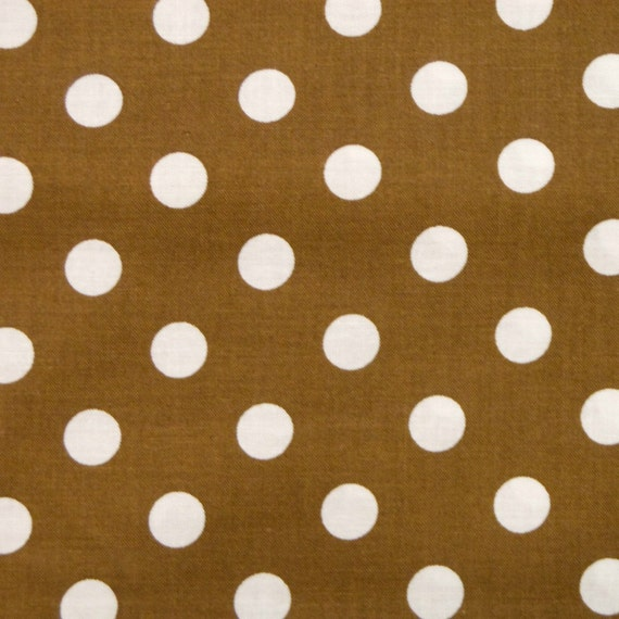 Brown White Polka Dot Quilting Fabric - 1 yd