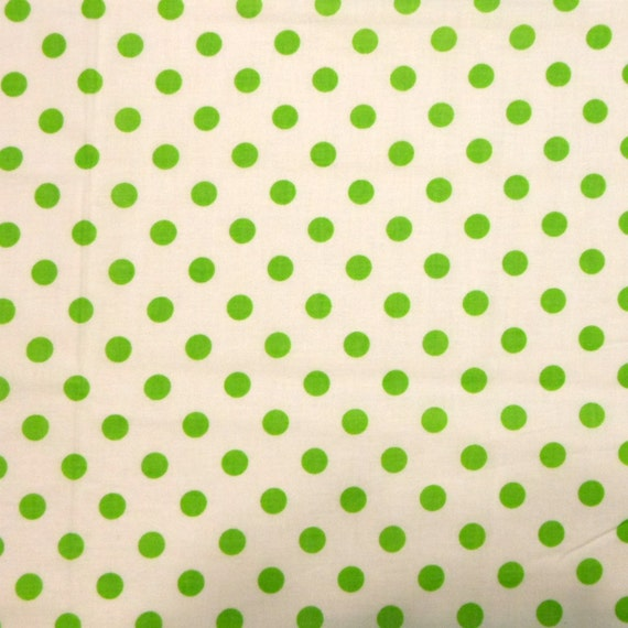 SALE White Apple Green Polka Dot Quilting Fabric - 1 yd