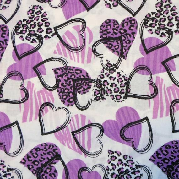 Lavender Purple Black Hearts on White Cotton Fabric - 1 yd