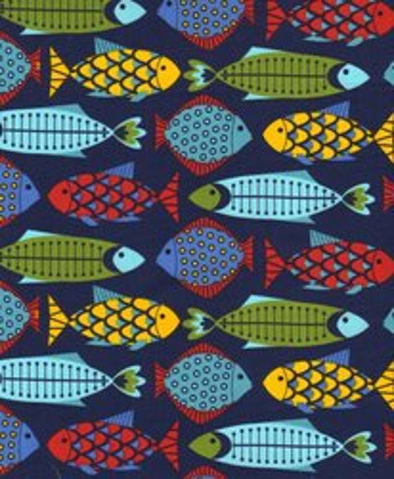 Catch of the Day Fish Fiesta Navy Timeless Treasures - 1 yd