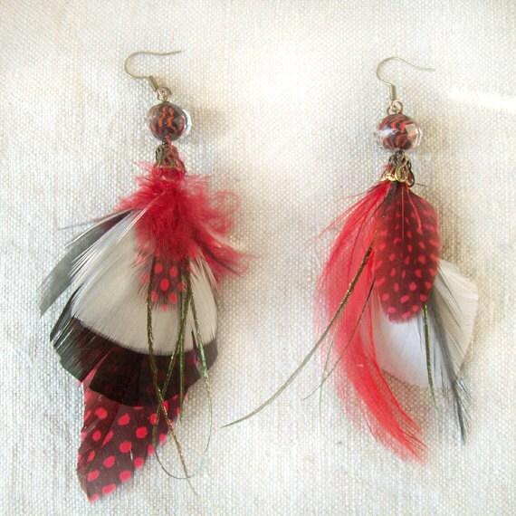 OOAK Red feather asymmetric earrings