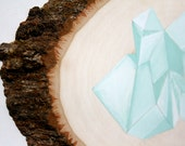 one of a kind - minimal geometric mountain / iceberg / tree bark rustic / mint / aqua