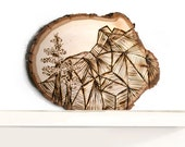 handmade wall art natural wood vintage modern mountain, forest, pine tree, woodland, tree slice, tree bark, natural one of a kind