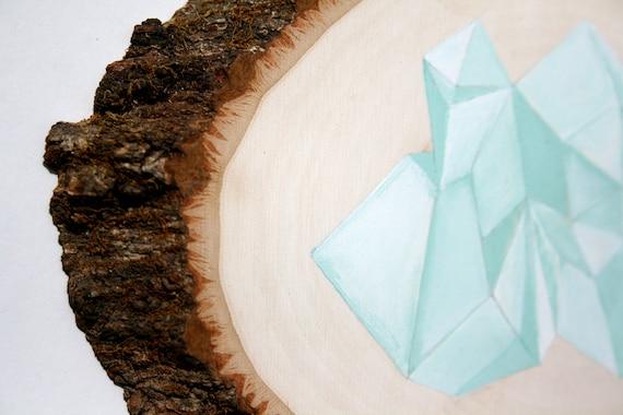 one of a kind - minimal geometric mountain / iceberg / tree bark rustic / mint / aqua