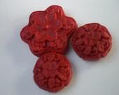 Red Flower Carved Cinnibar Bead Set