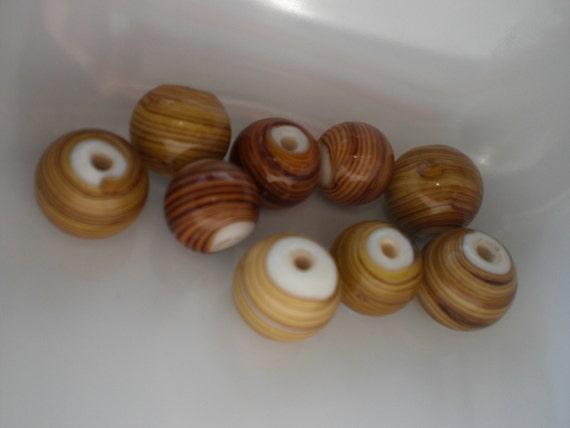 Neutral Beige and Terracotta Swirl Glass Beads