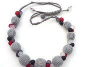 Carnival berries / Grey Crocheted Necklace / Frosted Top grey, black, white, ruby Beads