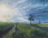 "Inspirational Petite Print of a Peaceful Morning Landscape by Watercolorist Catherine Obreza Fetterman--""My Light"""
