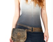 Woven rustic leather belt bag - LAST ONE -