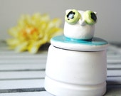 Ceramic Box in with Teal and White Owl Green Tooth Fairy Ring Holder