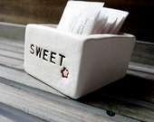 Ceramic Sugar Packet Holder in Pink and White Sweet Caddy