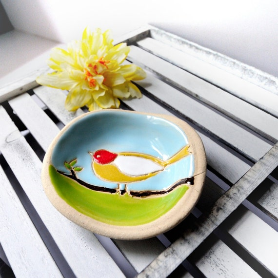Bird Plate in Ceramic Stoneware with Yellow and Red Robin in Blue Sky Soap Trinket Ring Dish