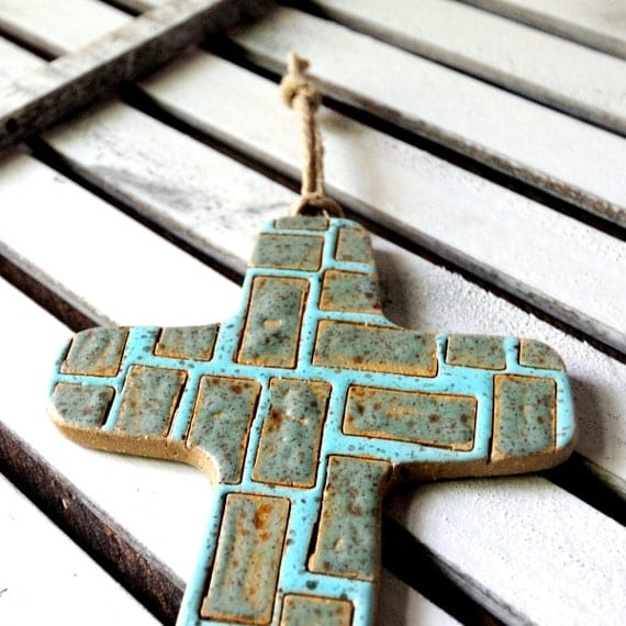 Ceramic Cross in Shades of Aqua Brown and Teal Decorative Wall Hanging