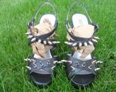 Hot custom Guess black strappy spike heels sz 8.5