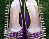 Sexy custom spiked Jessica Simpson ultra violet heels