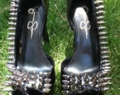 Fun and sexy custom spiked Jessica Simpson black patent heels