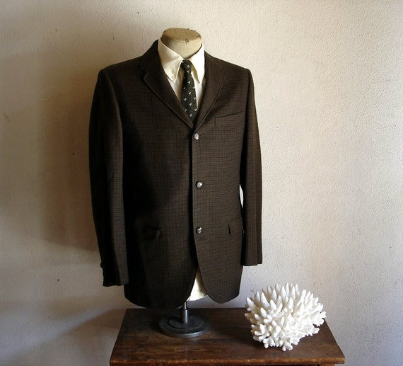 1950s-60s MOD Suit Jacket 3 Button Brown, Green & Black Plaid Houndstooth Blazer / Sport Coat by The House of Worsted-tex - Size 39 (MEDIUM)
